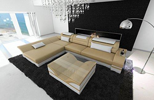 Sofa Dreams lederen bank Monza L-SHAPED Sandbeige-Weiss