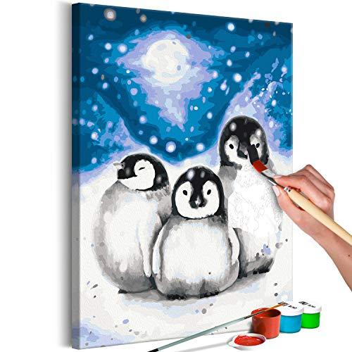 murando - Malen nach Zahlen Pinguine Tiere Winter 40x60 cm Malset mit Holzrahmen auf Leinwand für Erwachsene Kinder Gemälde Handgemalt Kit DIY Geschenk Dekoration n-A-1193-d-a