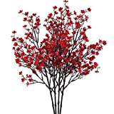 NAHUAA 4PCS Red Babys Breath Artificial Flowers Fake Silk Real Touch Floral Bouquet Home Office Farmhouse Wedding Centerpiece Arrangements Decor for Vase