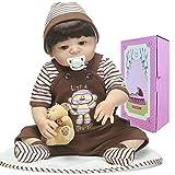 Lifelike Reborn Baby Dolls Silicone Full Body Boy Eyes Open 22 inch Newborn Silicone Baby Doll Anatomically Correct Monkey Clothes