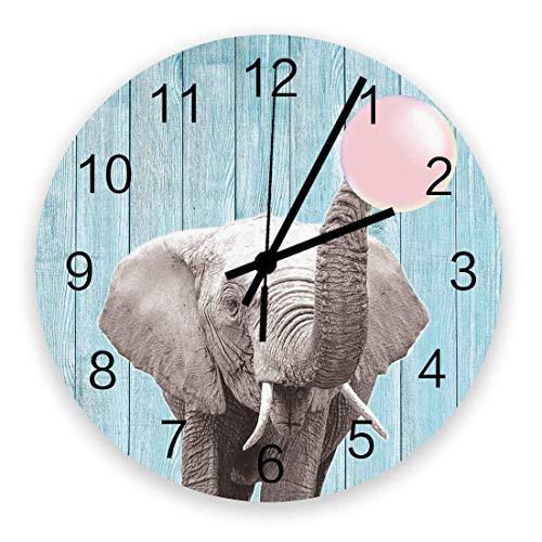 Reloj de pared de 10 'redondo, funciona con pilas, silencioso, sin tictac, para colgar en la pared, para sala de estar, oficina, dormitorio, elefante que sopla, goma de mascar rosa, grano de madera az