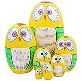Winterworm Set of 7 Pieces Lovely Owl Easter Eggs Russian Nesting Dolls Handmade Matryoshka Dolls for Kids Toy Birthday Christmas Decoration