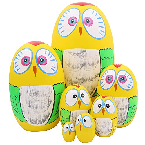 Winterworm Set of 7 Pieces Lovely Owl Easter Eggs Russian Nesting Dolls Handmade Matryoshka Dolls for Kids Toy Birthday Christmas Decoration