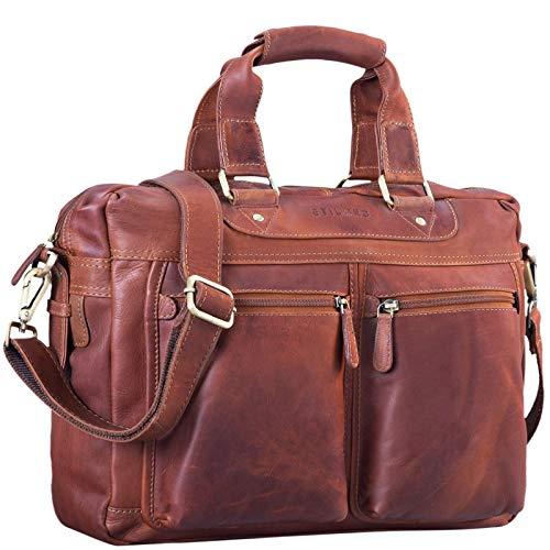 STILORD 'Jesse' zakelijke lederen tas mannen vrouwen schoudertas 15,6 inch laptoptas kantoortas echt leer, Kleur:cognac - bruin