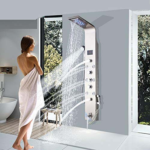 Saeuwtowy Shower Panel Shower Tower System Wall Mounted with LED Rainfall Waterfall Shower Head Rain Massage Stainless Steel with Adjustable Body Jets Tub Spout&Handheld Shower Hand Brushed Nickel