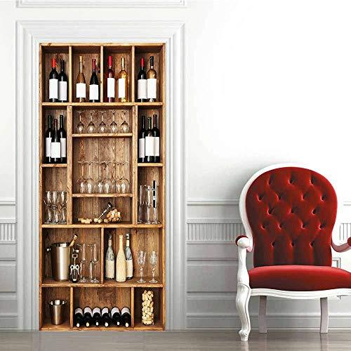Etiqueta de la Puerta de PVC-Vinoteca vintage-3D Adhesivo Vinilos Puerta Pegatina Pared Murales para Cocina Sala de Baño Decorativos 77X200cm