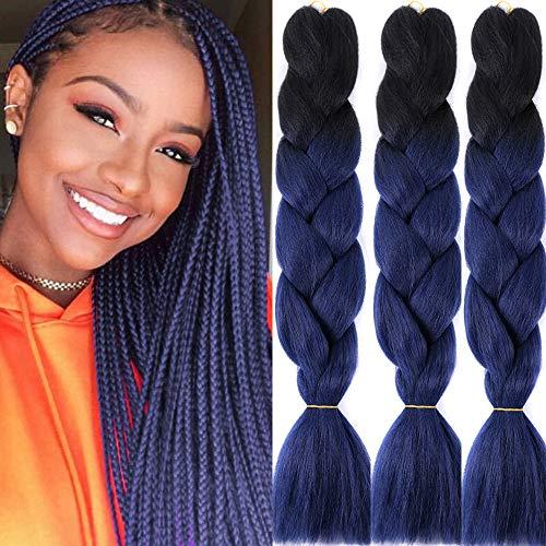 3 Packs Ombre Braiding Hair Extensions Three Tone Colored Jumbo Braids Bulk Hair For Crochet Box Braids Senegless twist Black Navy Blue