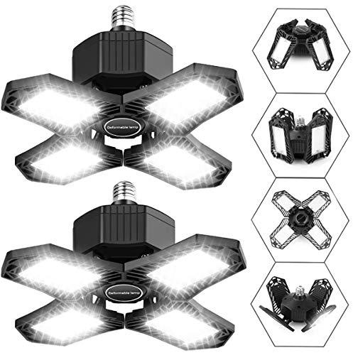150W LED Garage Lights 2 Pack, ISKYDRAW 15000LM Deformable Garage Lights Ceiling LED, 6500K Adjustable Four-Leaf Garage Lighting, E26/E27 LED Shop Light for Garage, Workshop, Warehouse, Basement, Barn