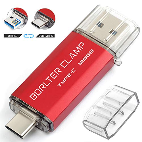128GB Type C USB 3.0 Dual Port Flash Drive, BorlterClamp USB C OTG Memory Stick for Android Smartphones Samsung Galaxy S10/S9/S8/Note 9, Huawei, LG, etc, Tablets and PC (Red)
