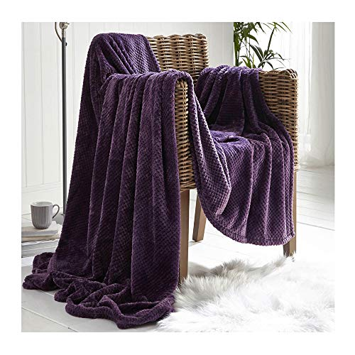 dl Waffle Throws Blanket For King Size Bed 2 Seater Sofa Cover 3 Seater Sofa Throw Super Soft Warm Cosy Large Luxury Waffle Blanket, 200 x 240 Cm, Purple