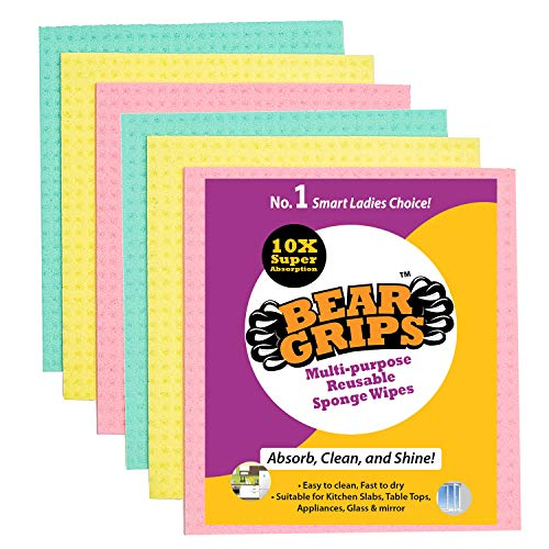 BEAR GRIPS resuable and washable Sponge Wipes with super absorbant biodegradable cellulose material for kitchen and home cleaning (Multicolored) – Pack of 6