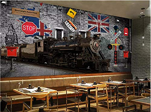 Muursticker behang 3D Europa Retro Nostalgisch Britse trein bus oldtimer brievenbus grijs baksteenmuur industriële decoratie wandbehang 3D 150 cm x 105 cm.