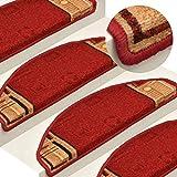UnfadeMemory 15 STK. Set Treppenmatten Selbstklebend Stufenmatten Treppen-Teppich aus Getuftetem Polyamid Halbrund Treppenteppich Florhöhe 3 mm 65x21x4 cm (Rot)