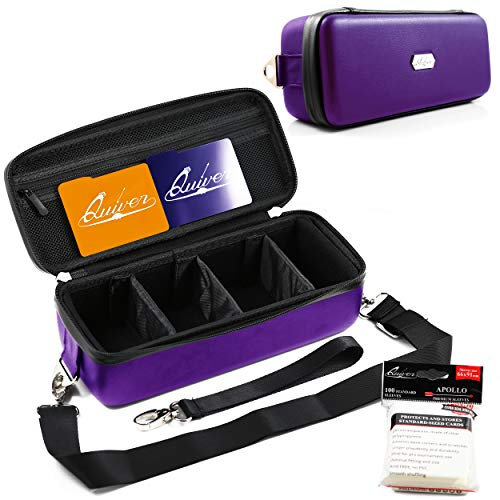 Quiver Time Purple Bolt Collector Card Carrying Case ~ Card/Deck Storage Case with Wrist and Shoulder Strap, Dividers & Separators, Corner Pads + 100 Apollo Card Sleeves ~ Deck Box Bag Compatible
