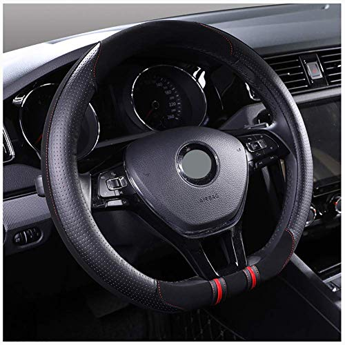 Coprivolante,Fundas Volante Cuero del volante del coche de la manga de la rueda D Forma antideslizante Volante protector universal de 15 pulgadas Color : Gray todas las estaciones
