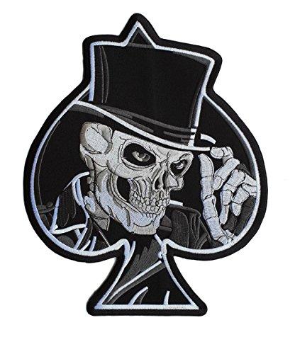 Parche Poker as de Calavera Biker Motociclista - 28 cm x 22.3 cm XL Tamaño Grande - Parche para Ropa Parches Bordados Parche Termoadhesivo Aplicación Apliques Mochila Jeans Chaqueta– Treasure-Quest