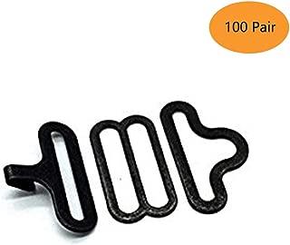 100 Sets Adjustable Bow Tie Hardware Clip Set, Metal Cravat Clip Hook Fastener for Necktie Strap (Black)