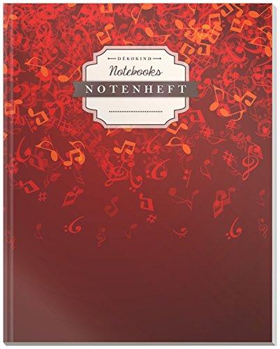 DÉKOKIND Notenheft | DIN A4, 64 Seiten, 12 Notensysteme pro Seite, Inhaltsverzeichnis, Vintage Softcover | Dickes Notenbuch | Motiv: Rote Musiknoten