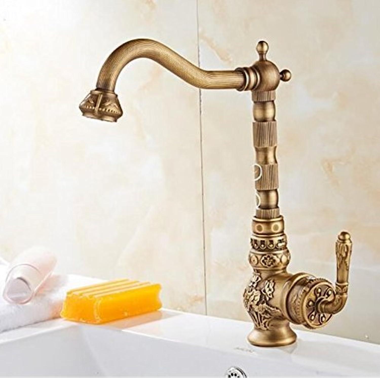 Diongrdk Basin Faucet Single Handle Antique Brass Bathroom Basin Faucet Vintage Basin Mixer Sink Tap Basin Mixer Water