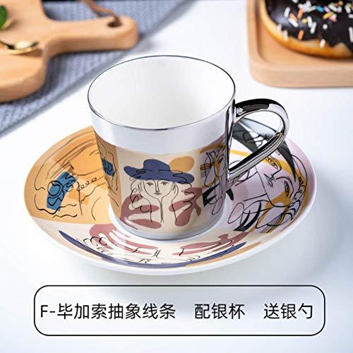 UKKD Tassen Spiegel-Reflexion Cup Kaffeetasse Picasso Keramik Kaffeetasse Und Untertasse Set Löwe Lustige Becher Für Freund-Geburtstag,Siehe Grafik