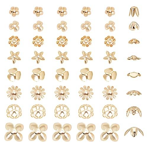 SUNNYCLUE 1 Scatola 8 Stili 18K Placcato Oro Perline di Fiori Multi-Petali Caps Distanziatori Allentati Connettore in Ottone Accessori per Perline per Bracciale Fai da Te Collana Orecchino Creazione