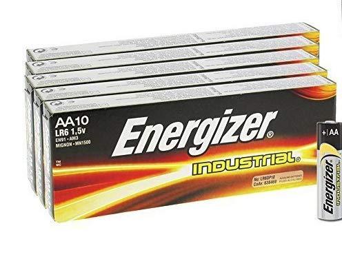 50 x Energizer LR6 AA Industrie EN91 Größe MN1500 Power Seal Batterie 1,5V Everyday Alkaline Allzweckbatterien Dauerhafte echte Industriebatterien