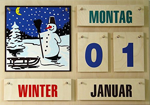 Holzkalender mit farbigen Zahlen 35 * 50 * 1,2 cm