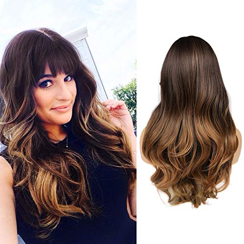 WIGER Synthetic Wigs With Bangs 3 Tones Ombre Wig Brown to Blonde Long Natural Wavy Heat Resistant Wig High Density Hair Full Wigs for Women Girls 24 Inches