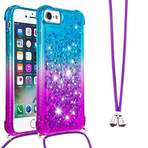 Dclbo - Funda para iPhone SE 2020 / iPhone 8/iPhone 7/iPhone 6/iPhone 6S, funda de silicona con cordón, purpurina líquida, transparente con cadena, Azul y lila.