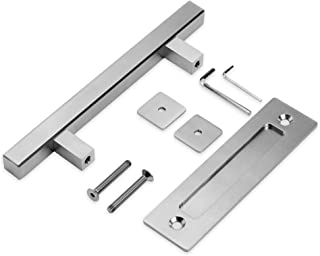 Running Stainless Barn Door Pull Handle Set | Stainless 12 inch Square Heavy Duty Solid Steel Gate Handle | for Barn Door Gates Garages Sheds