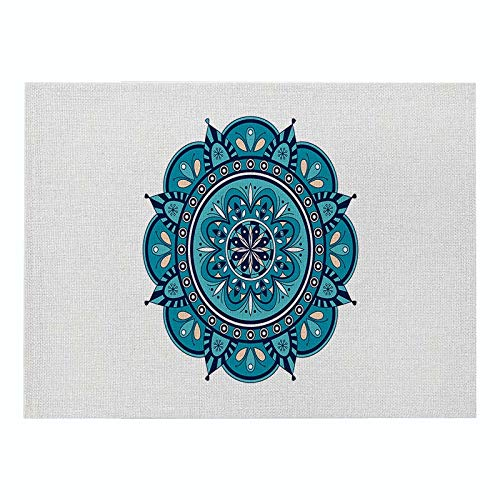 Z-LIANG Geometric Patterns Simple Style Distinctive Placemat Table Napkin Dining Table Mat Bowls Drink Coasters Kitchen Accessories Decoration (Color : CD011 9, Size : Polyester Hemp)