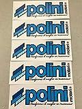 Set di 5 Adesivi POLINI Blu Dimensioni 15,2x5cm Nuovo