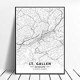 NOVELOVE St. Gallen Stadt Schweiz Karte Poster HD Drucke