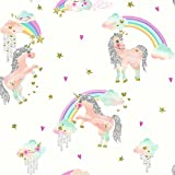 Arthouse 696109 Rainbow Unicorn White Wallcovering