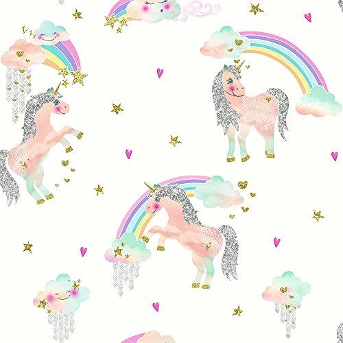 Arthouse 696109 Rainbow Unicorn White Wallcovering