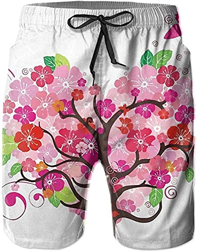 Pantalones Cortos De Playa Transpirables para Hombre Bañador Pantalones Cortos Love Tree Butterfly De Secado Rápido Adecuado para Surf De Verano Y Junto A La Piscina-XXL