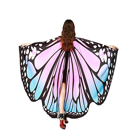 TMEOG Chal de Alas de Mariposa, Duendecillo Disfraz Capa de Muchacha Accesorio Disfraz Playa Fiesta para Adulto Mujer (A_LF)