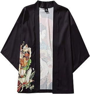 Hombre Camisetas Cárdigan Manga 3/4 Kimono Elasticos Camisa con Estampadas Tallas Grande Originales para Verano Primavera