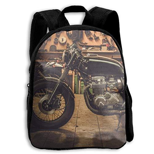 jenny-shop Vintage Style Cafe-Racer Motorrad Kinderrucksäcke für Jungen und Mädchen Vorschule Rucksack Schultasche