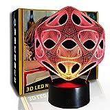 KangYD Geometría creativa de luz nocturna 3D, lámpara de ilusión óptica LED, B- Base negra remota (7 colores), Regalo de la suerte, Lámpara de dormitorio