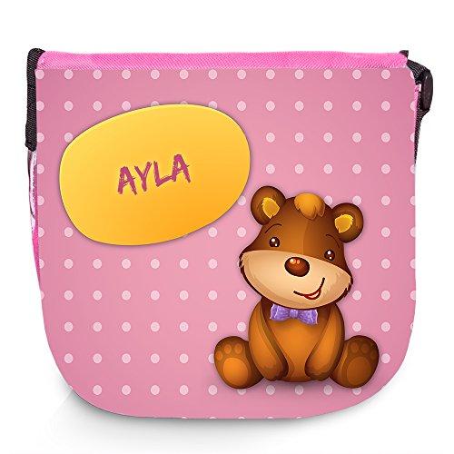 Umhängetasche mit Namen Ayla und süßem Bären-Motiv   Schultertasche für Mädchen