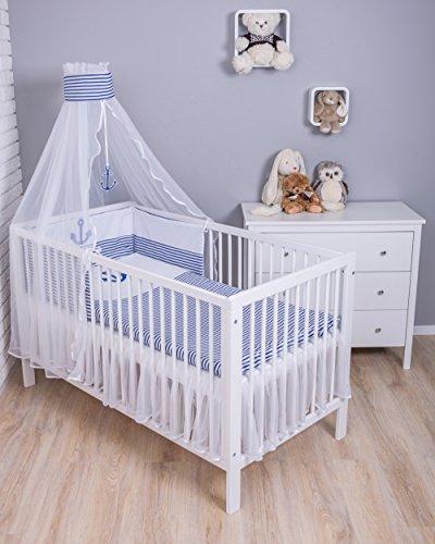 Amilian® Baby Bettwäsche 5tlg Bettset mit Nestchen Kinderbettwäsche Himmel 100x135cm Anker groß Blau MIT STICKEREI (Chiffonhimmel)