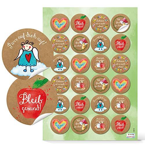 Logbuch-Verlag 48 Aufkleber Gesundheit Ø 4 cm gute Wünsche Alles Gute Bleib Gesund - bunte Sticker zum Mut machen Motivation Kraft Glück in einer schweren Zeit