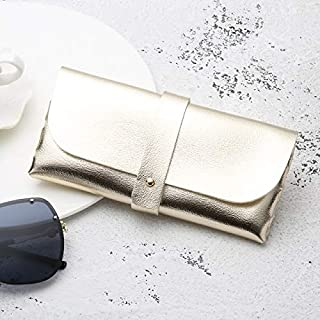 JINJIN Fashion Portable Glasses Case Magnetic PU Leather Foldable Glasses Box for Eyeglass Oversize Sunglasses(White) (Color : Gold)
