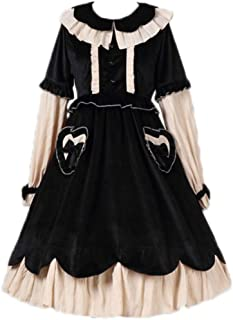 ecd24c3d4bef2 Packitcute Lolita Velvet Dress, Japanese Style Sweet Cute Teen Girls Soft  Warm Swing Party Dresses