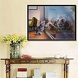 Precioso Gato y un Tigre en el Espejo Póster Impresiones de Pared Arte sofá Dormitorio decoración del hogar Escenario...