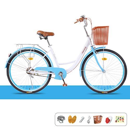 ZRN Bicicleta de Carretera Urbana de 24/26 Pulgadas de una Sola Velocidad | Cuadro Urbano Bicicleta de piñón Fijo Retro Vintage Adulto Mujer Hombre Unisex