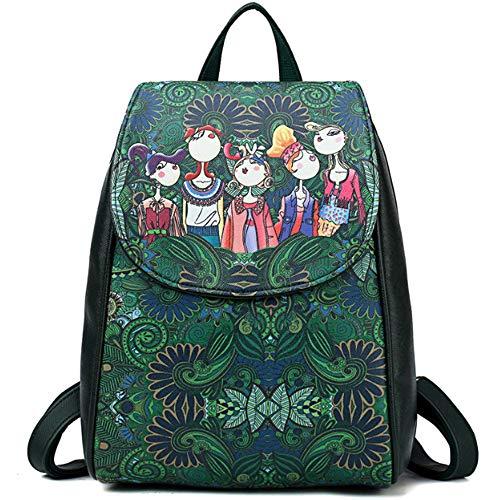 FiveloveTwo Mujer Niña Bolsos Mochila de cuero de PU Estampada Bolsa y Monedero de la Escuela Viaje Ocio Mochilas Tipo Casual Backpack Rucksack Verde oscuro