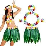 Falda de Hoja de Hula con Set de Hawaianas Leis Hibisco Pulseras,Diadema,Collares,Hawaiano para Fiesta Disfraz de Playa Fiesta de Luau Tiki Hawaiana