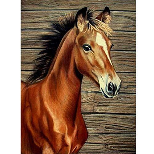 DIY de madera Puzzles caballo grandes adultos 1000 piezas DIY by Number Arts Horse Animal Crystal Paint con regalo de Navidad-6 Imagen de la decoración de la habitación Regalos de Navidad